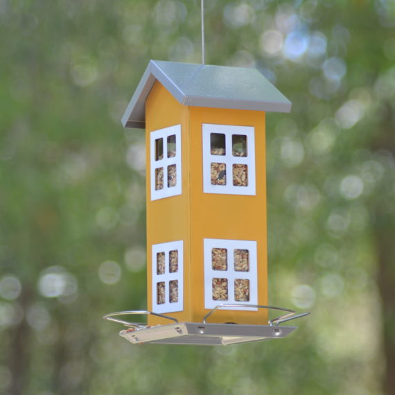 Classic-Double-Cottage-Bird-Feeder-(Yellow)