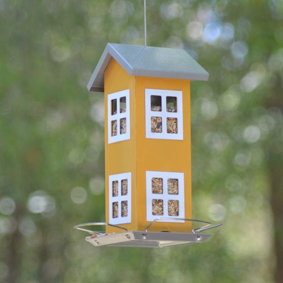 Classic-Double-Cottage-Bird-Feeder-(Yellow)